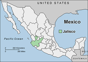 Map of Jalisco, Mexico